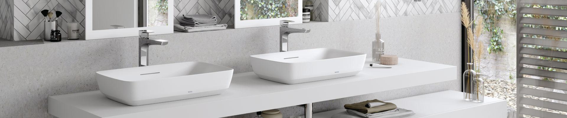 Semi recessed lavatories